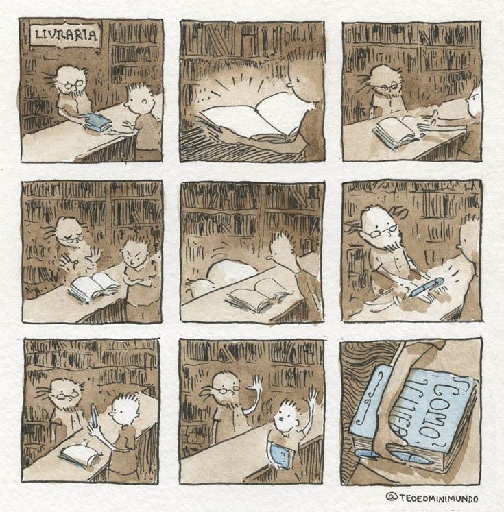 Tirinha- O que está escrito no seu livro?