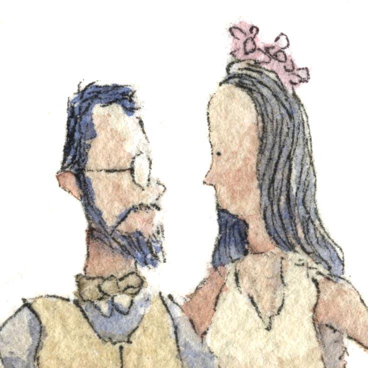 Caricatura em aquarela de um casal de noivos